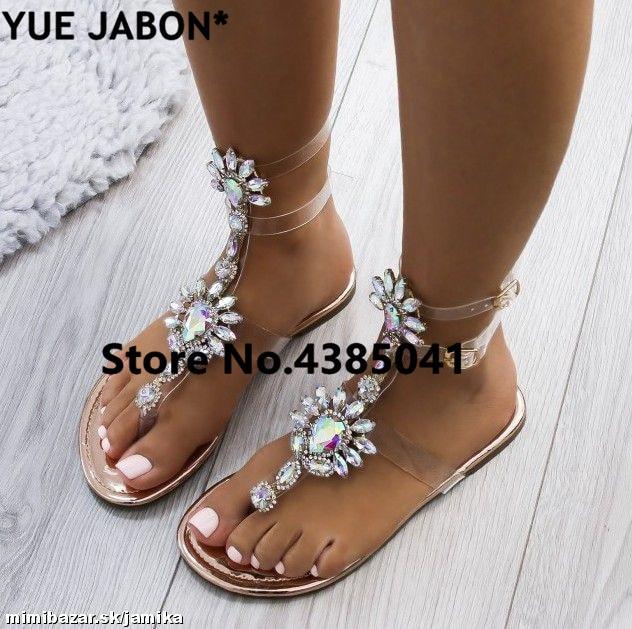 HTB1 dJXjsj B1NjSZFHq6yDWpXas 2019 shoes woman sandals women Rhinestones Chains Flat Sandals Thong Crystal Flip Flops sandals gladiator sandals 43 free ship