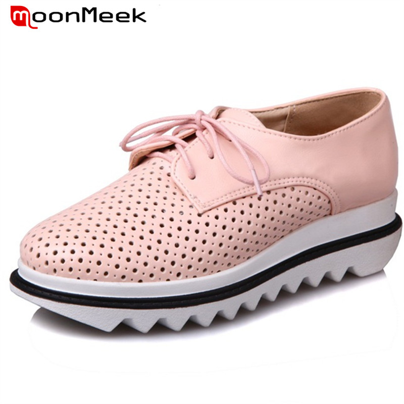 MoonMeek PU Soft leather shoes woman big size 34-43 single shoes solid lace-up women shoes pumps round toe contracted
