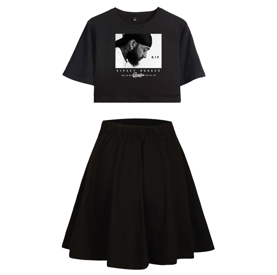 Nipsey Hussle Idol Occident 2 Pic Skirts Sets Short Sleeve+Short Skirt Basic Comfortable Summer Street Casual Women Sets Navel