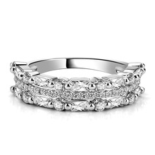 Huitan Double Bands Jewelry Women Ring New Years Gift Luxury Romantic Birthday For Best Friend Sliver Plated