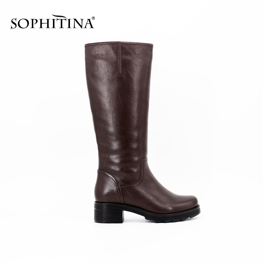 SOPHITINA Full Leather wool Mid-Calf Boots Thick heel Round Toe leather Boots woman Zipper Keep Warm Handmade Winter shoes B026 double buckle cross straps mid calf boots