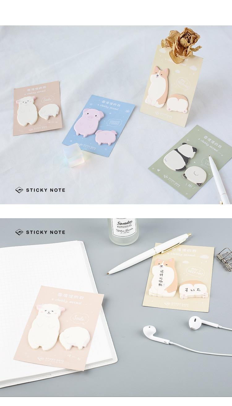 Memo Pads Corgi Dog Pig Panda Alpaca Memo Pad N Times Sticky Notes Escolar Papelaria School Supply Bookmark Label