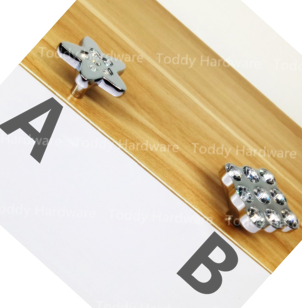 Size 37mm Star / Square Style Crystal Glass Furniture Knobs Cabinet Door  Handle Drawer Pulls(