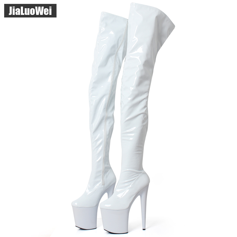jialuowei PVC Thigh High Boots 2018 High Heel Platform Over-the-Knee Zip Crotch High Boots Sexy Female Pointed Toe Erotic Shoes
