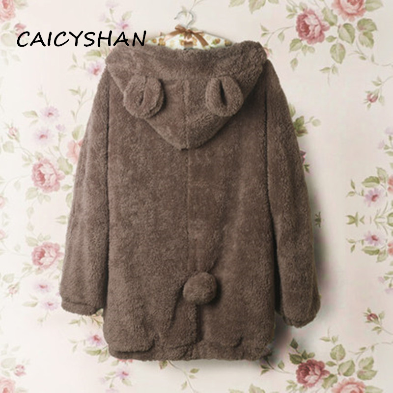 Baru Autumn Winter Hoodies Wanita Vestidos Plus Size Casual longgar Bear Telinga Plush Hooded Hooded For Women Besar M-5XL Outwear