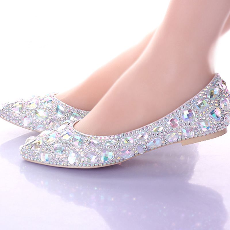 Flat Heels Pointed Toe AB Crystal Wedding Shoes Silver Dancing Flats Performance Show Women Dress Shoes Bridal Bridesmaid Shoes 2017 new fashion spring ladies pointed toe shoes woman flats crystal diamond silver wedding shoes for bridal plus size hot sale