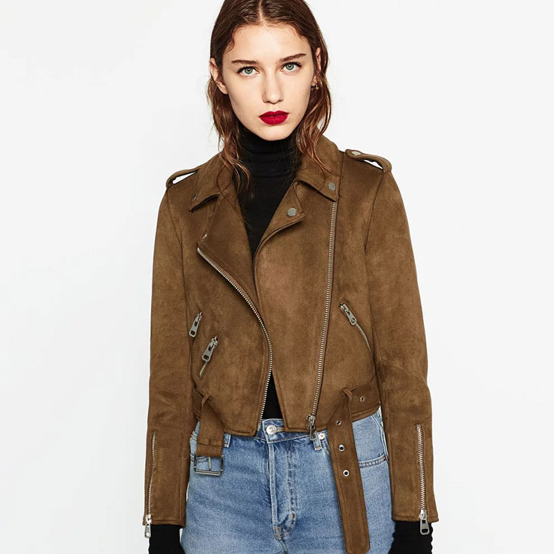 ShowMi Long Sleeve Brown Suede Jacket Women Short Motorcycle ...