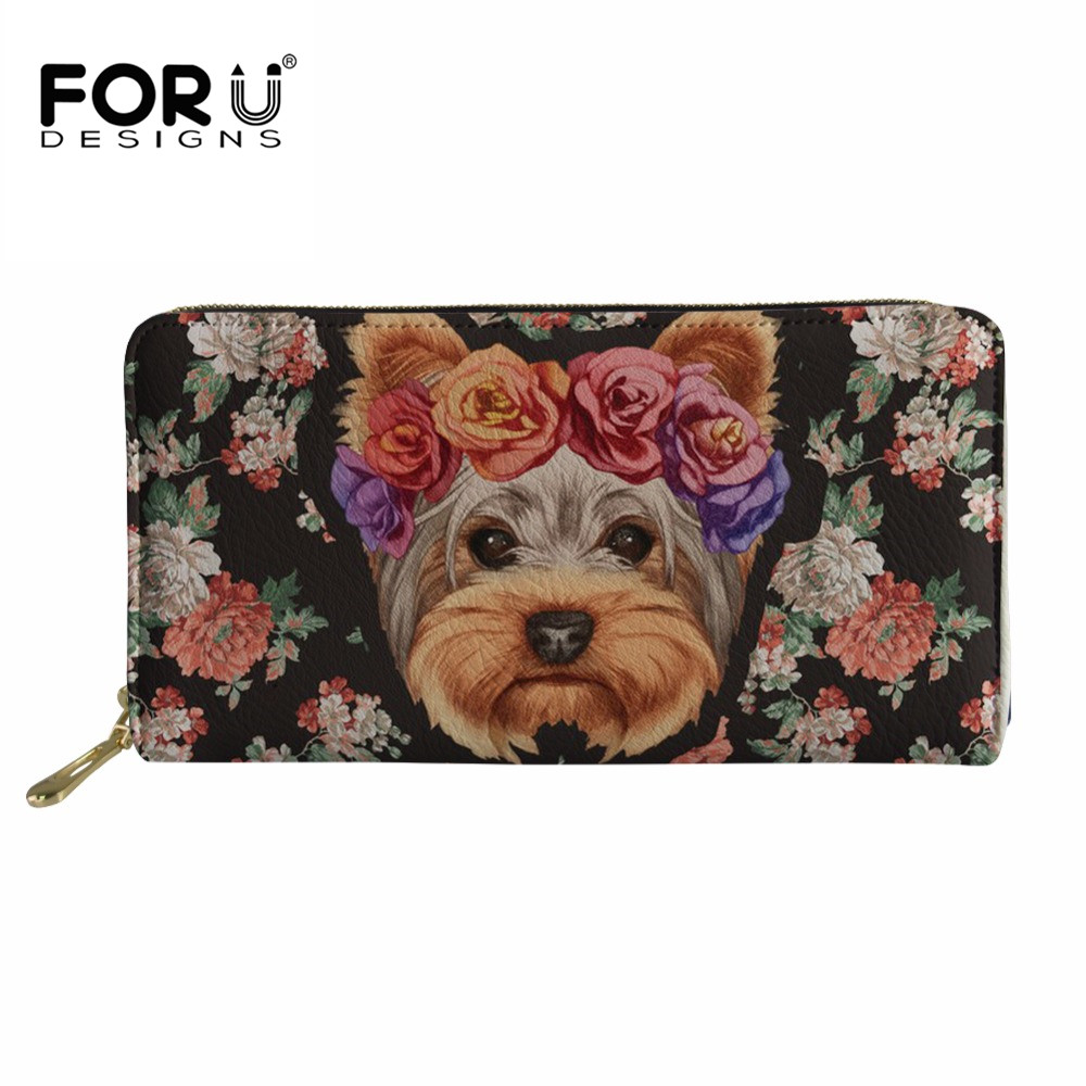 Buy FORUDESIGNS Kawaii Puppy Yorkie Print Wallets Ladies Coin Purse for Females Fashion Phone Pocket Card Holders Money Bag Carteira for $13.42 in AliExpress store