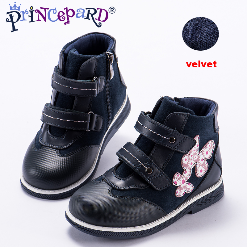 Princepard 2018 New orthopedic shoes for kids casual genuine leather navy color baby orthopedic shoes girls and boys 28-36 size princepard genuine leather boys girls orthopedic footwears include orthotic arch support flat foot kids shoes baby shoes