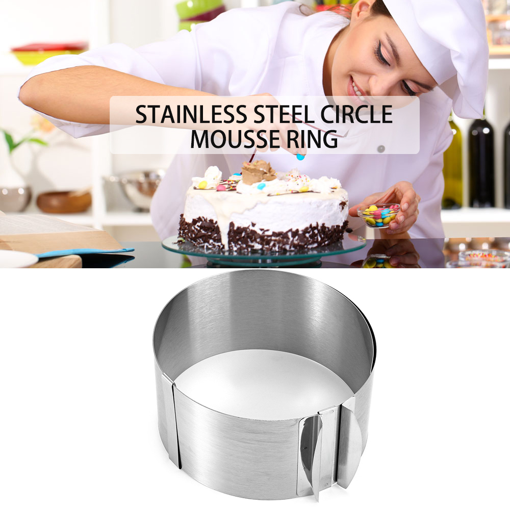 New Retractable Stainless Steel Circle Mousse Ring Baking Tool Set Cake Mould Mold Size Adjustable Bakeware 16-30cm Cake Tools