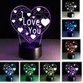 Moda Ilusão 3D Amor Coração CONDUZIU A Lâmpada com Eu Te Amo Lâmpada Da noite como Casal & Amantes Presentes Atmosfera de Festa de Flash Brinquedo iluminação