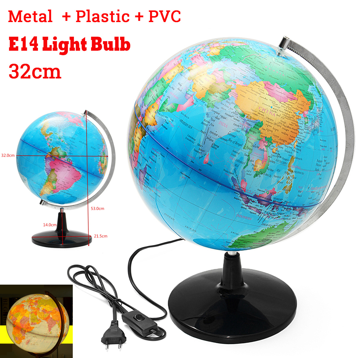 32CM monde terrestre Globe terre carte géographie éducation jouet carte avec support rotatif décoration de la maison bureau ornement