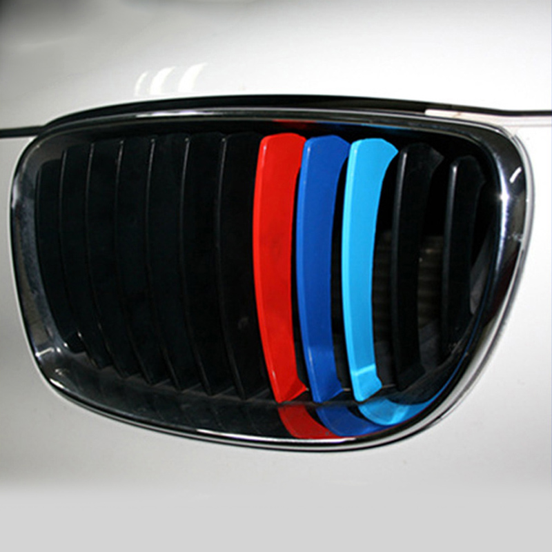 3pcs 25x5cm Car Front Grille Stripe Sticker Car Door Stickers Decoration For BMW M3 M5 E46 PVC Car Styling Car Body Stripe