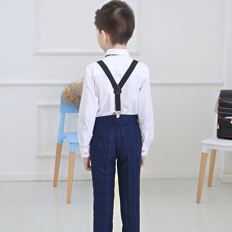 New Autumn Long Sleeves Shirt Grid Pant Bib overall Boys Clothing Sets Children Formal Clothes Kids  Boys' Attire Piano costumes комплект одежды для мальчиков kids clothes sets 2 bib 6m 5y boys clothing sets