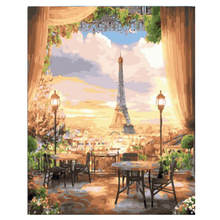 Diy Canvas Painting For Wall Decoration,Painting By Number 40x50cm,Paris Tower,Paint Kits Adults
