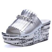 Big size 34-40 Summer solid wedges flip flops sandals for woman designer Ultra 8.5cm high heels slides 11 cm female beach shoes