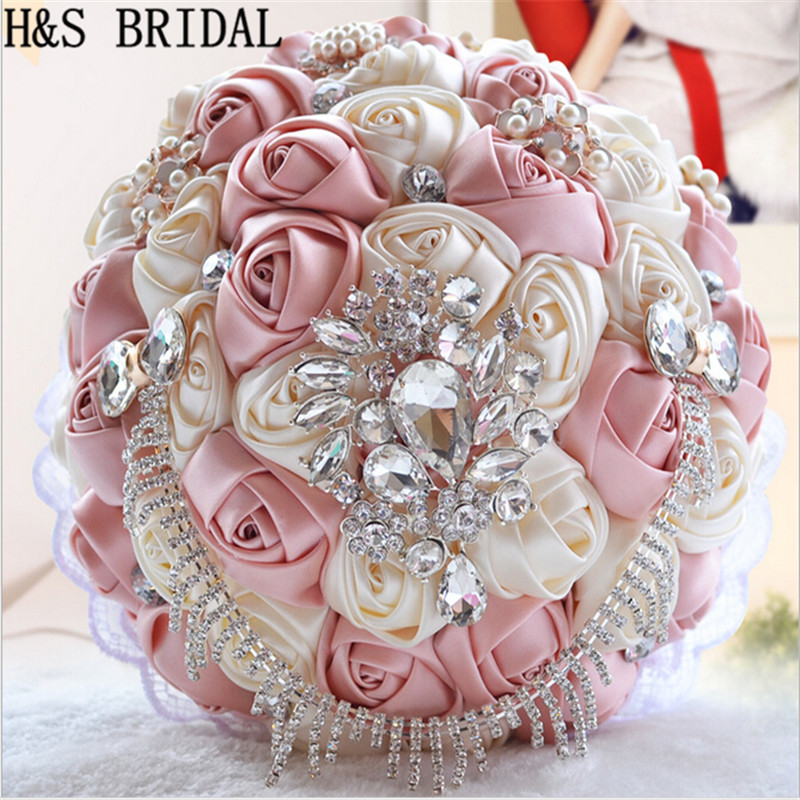 New Arrival Hand Made Elegant Decorative Artificial Rhinestone Bride Bridesmaid With Crystal Wedding Bouquet Flower