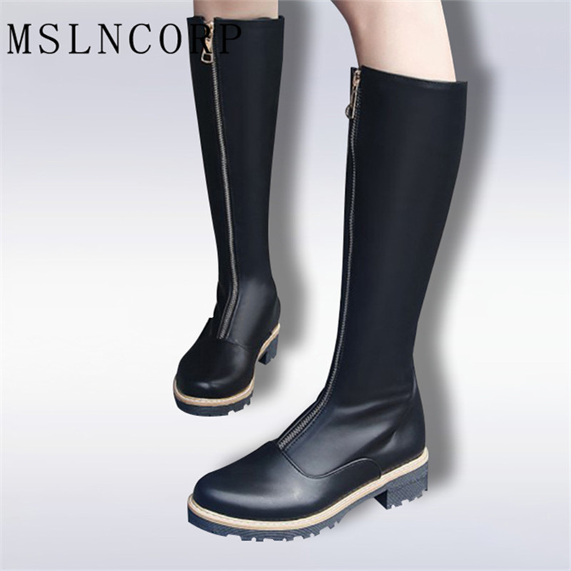 Plus Size 34-43 New High Quality Zip Knee High Boots Women Soft Leather Winter Boots Comfortable Warm Fur Women Long Boots Shoes 2016 new fashion winter knee high boots high quality personality knee high boots comfortable genuine leather boots