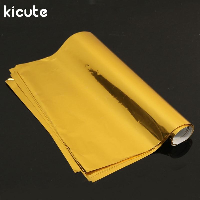 Kicute 50pcs/set A4 Gold Hot Stamping Foil Paper Laminator Laminating Transfer Laser Printer Business Card Calendar 295 x 195mm