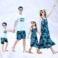 Summer mother girl dress dad son tshirt+shorts 2pcs clothing sets family look family matching outfits mommy and me clothes