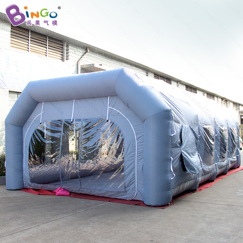 2019 HOT SALES 9X5X3M inflatable car paint spray booths air blow grey spray big tent parking lot use customized advert car room