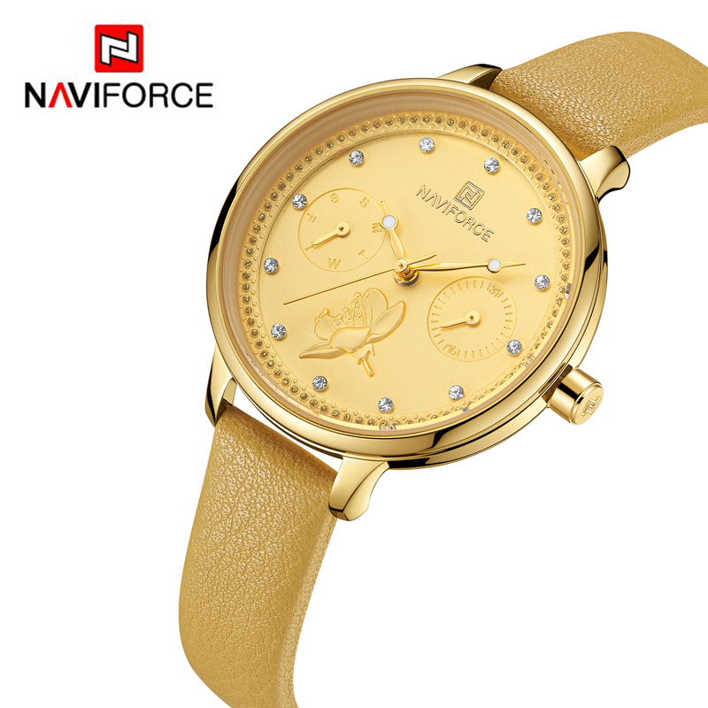 e89867e45f7 NAVIFORCE Women Watches Top Brand Luxury Fashion Female Quartz Wrist Watch  Ladies Leather Waterproof Clock Girl Relogio Feminino