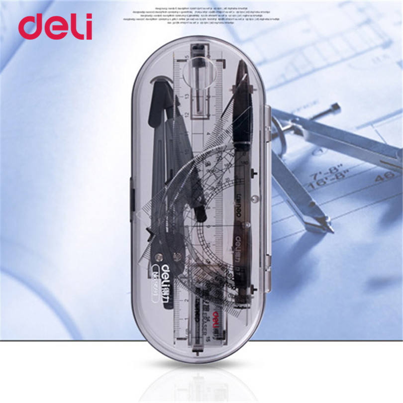 Deli Ruler Compasses Set Eight Pieces a Set Drawing Test Teaching Ruler Compasses Triangular Plate Set for School Student