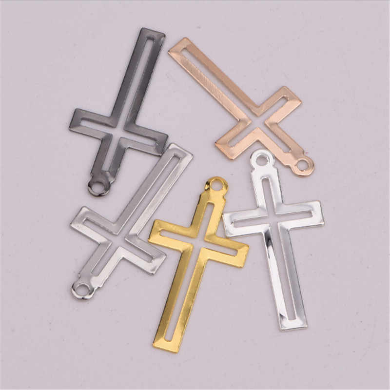 50pcs/lot new creative cross silver gold charms connectors for diy necklace Bracelet pendant jewelry making accessories material