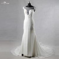 RSW1080 Beach Wedding Dress Ivory Chiffon Long Sleeves Lace Backless Wedding Dresses