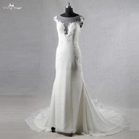 RSW1080 Beach Wedding Dress Ivory Chiffon Long Sleeves Lace Backless Wedding Dresses