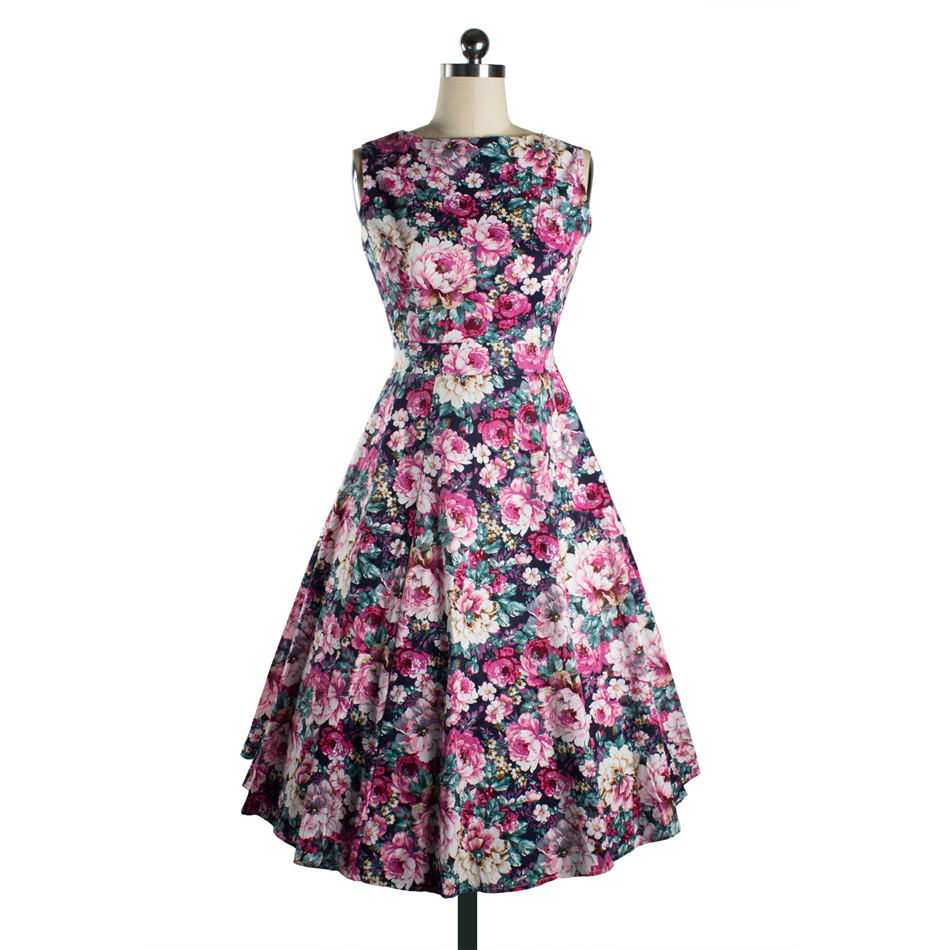 LERFEY Women Summer Dress Floral Print Retro Vintage 50s ...