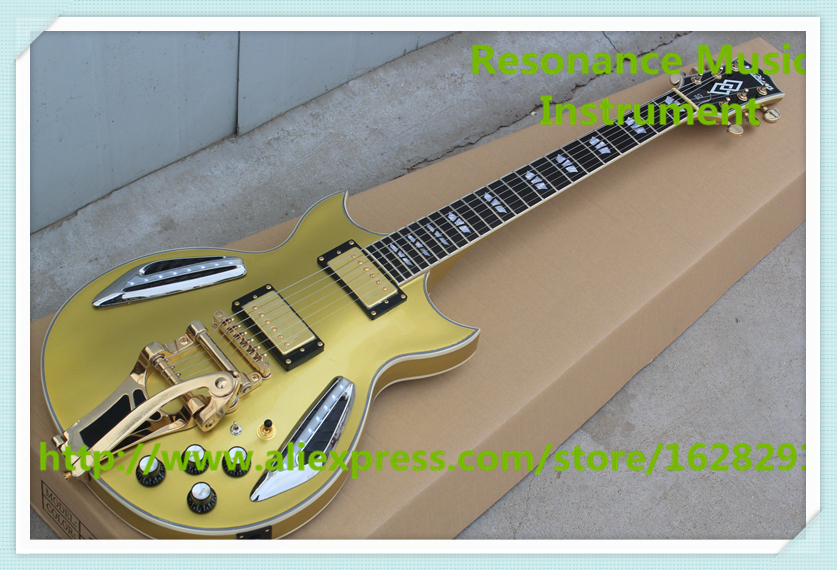 New Arrival Goldtop Finish ES LED Light Electric Guitar Maple Hollow Body As Pictures For Sale new arrival electrics guitar 12 strings cherry sunburst semi hollow maple body for sale