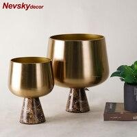 Golden vase decoration home marble vases for flowers floor vase mariage decor for homes tabletop vase modern terrarium