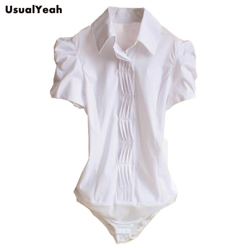6b8c1a3d55 2018 Nowy Kobiety Krótki Rękaw Puff Koszulki Biurowe Plisowana Koszula  Ciała Lady pracuj bluzki bluzki dla kobiet SY0167 Biały S M L XL