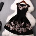Moda Estilo Verão Mulheres Impressão Borboleta Vestido de Festa À Noite Elegante Do Vintage Vestido Preto Sem Mangas Vestidos De Festa Robe