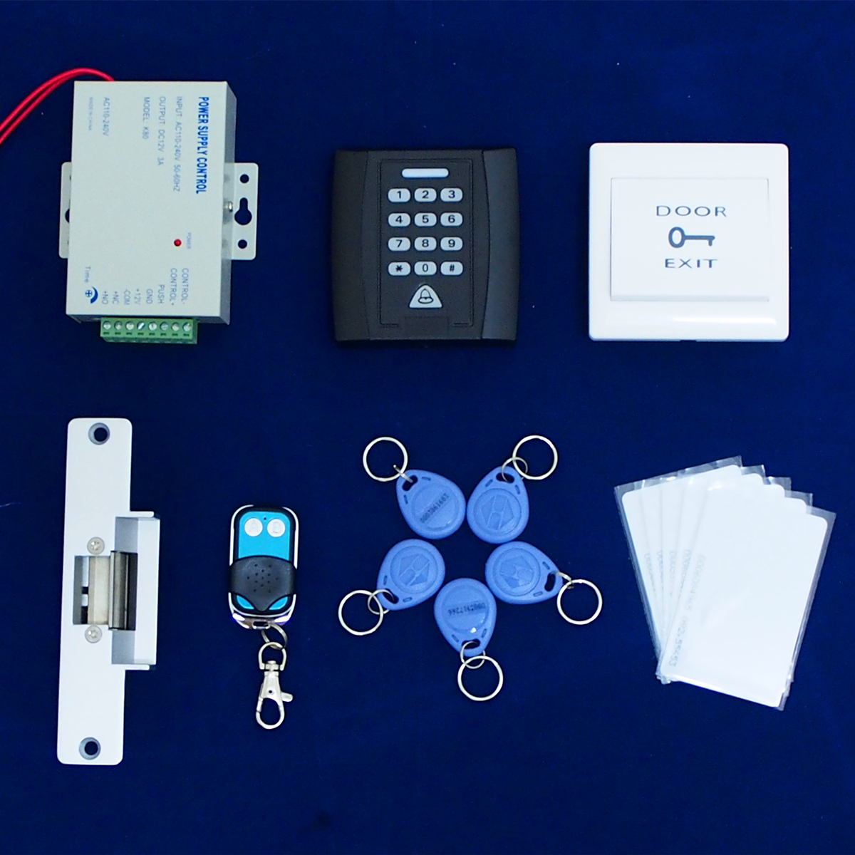 RFID Door Access Control System Kit Set Luminous Controller Electric Strike Door Lock ID Card Keytab Power Supply Exit Button rfid door access control system kit set with electric lock power supply doorbell door exit button 10 keys id card reader keypad