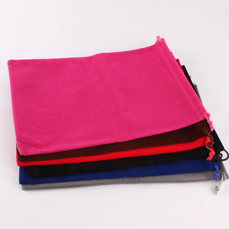 20pcs/lot 20*30cm Customized Logo Printed Velvet Drawstring Pouch Packing Bags