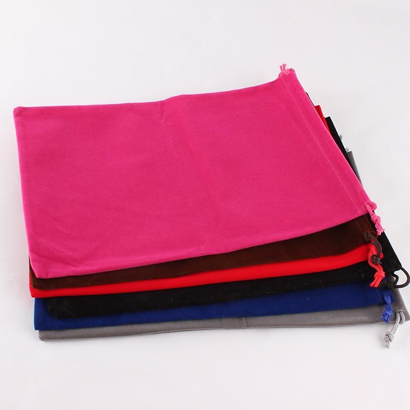 20pcs/lot 20*30cm Customized Logo Printed Velvet Drawstring Pouch Packing Bags