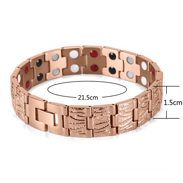 HTB1 dLYRVXXXXcnaXXXq6xXFXXX5 - RainSo Titanium Magnetic Bracelets & Bangle 2 Row Health Care Elements Germanium Healing Bracelet Health Hologram Wristbands