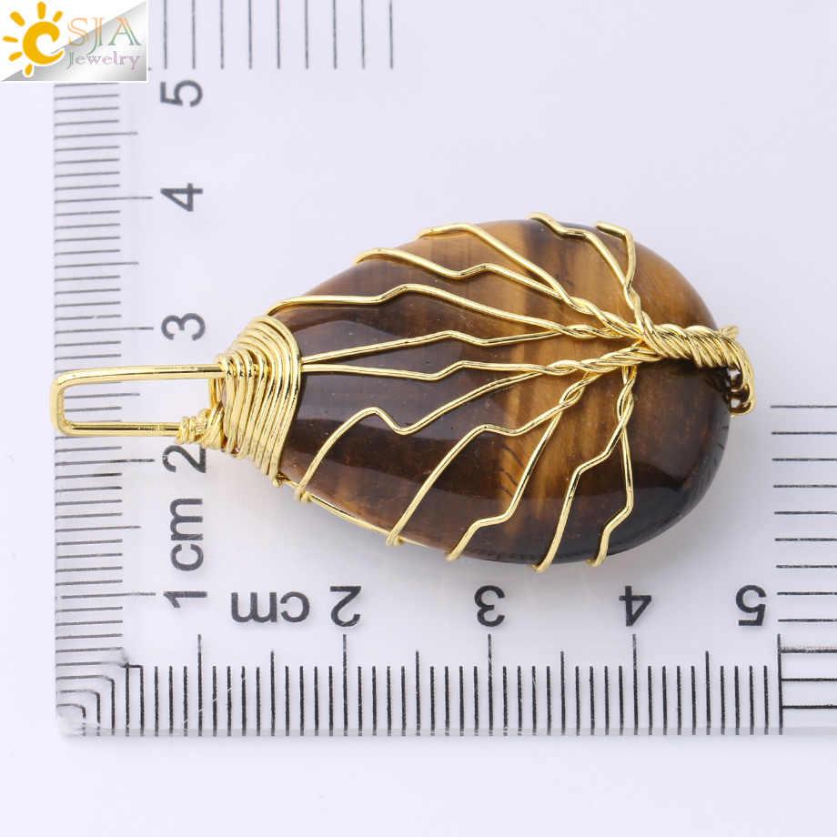 CSJA Gold Farbe Baum des Lebens Halskette Anhänger Draht Wrap Naturstein Edelstein Rosa Quarz Tigerauge Aventurin Suspension e585