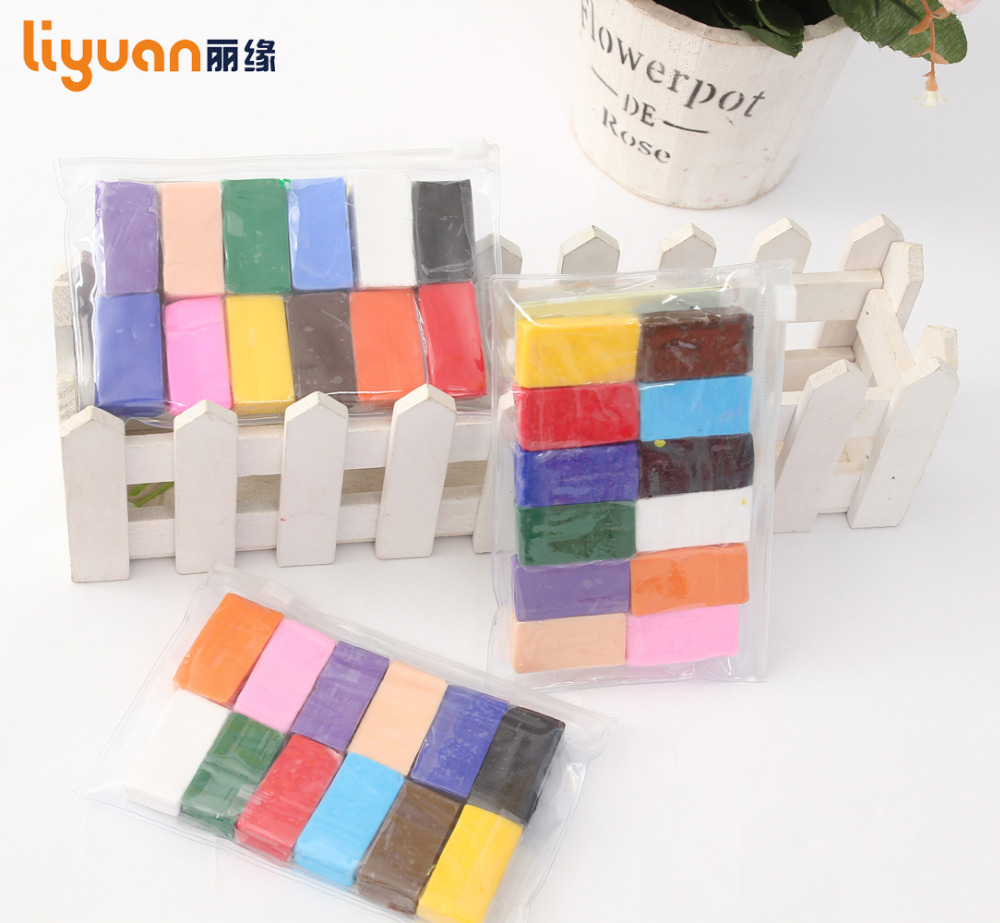 Liyuan 12 Colors DIY Nontoxic Malleable Fimo Polymer Clay Playdeig Soft Power Play Deig Plasticine Gaver til barn