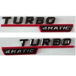 Błyszczący błyszczący Blacck TURBO 4MATIC z tworzywa sztucznego bagażnik samochodowy Fender stron litery odznaka odznaki emblemat emblematy dla Mercedes Benz AMG