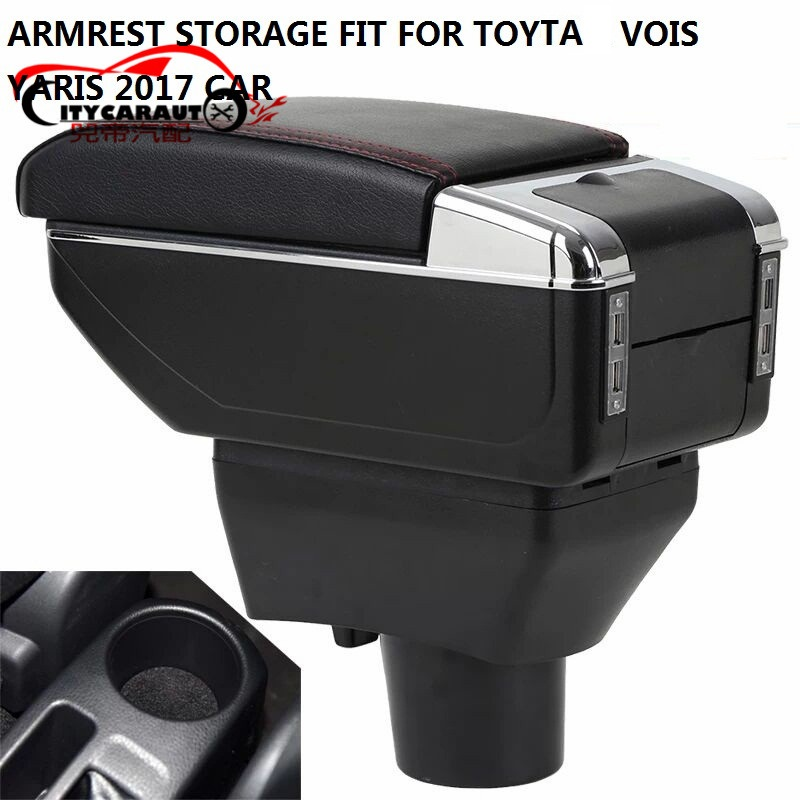 CITYCARAUTO BIGGEST SPACE+LUXURY+USB Car armrest box central Storage content box with cup holder USB FIT FOR Toyta vois YARIS