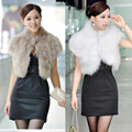 2017 New Female Short Design Faux Fur Vest Outerwear Fur Cape