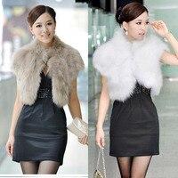 2019 New Female Short Design Faux Fur Vest Outerwear Fur Cape