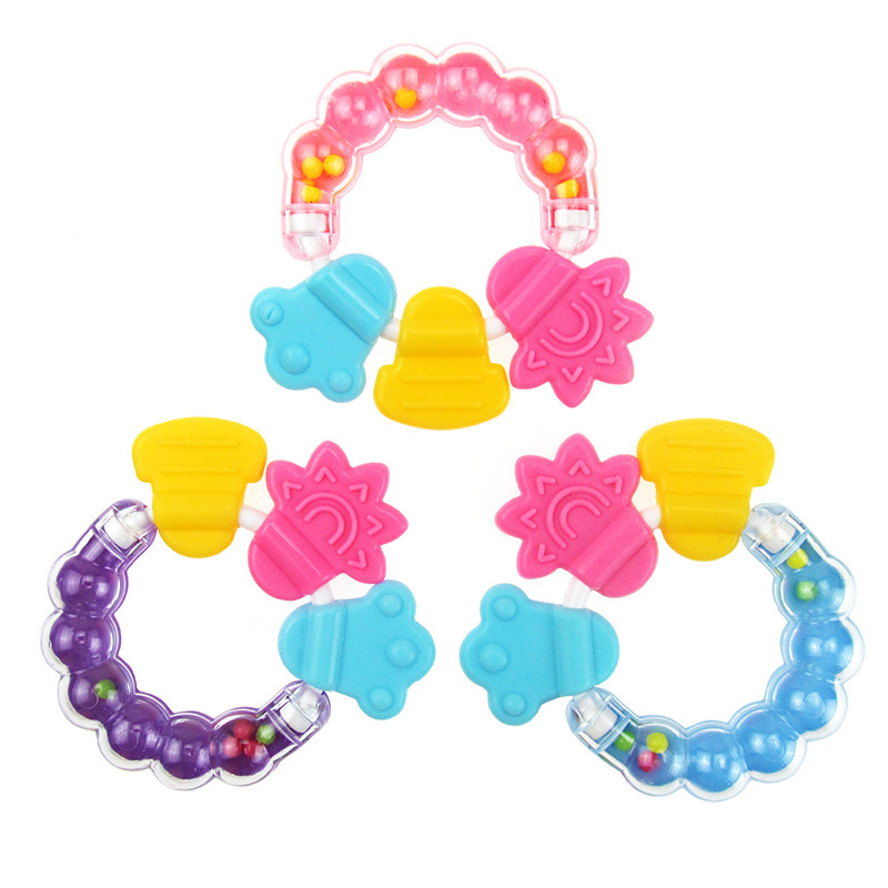 Baby Rattle Toys Baby hand catching bell soft silicone gums infant deciduous Baby teethers Random Color Toys for children