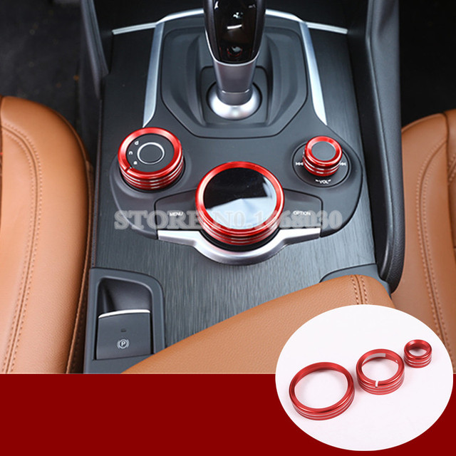 Inner Console Multimedia Knob Cover 3pcs Red Colour For Alfa Romeo