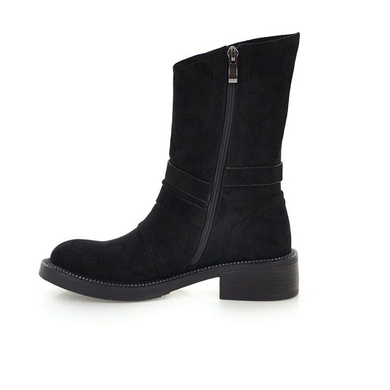 Imitación Mano Invierno Caliente De Negro Para Mujeres Moda A Zapatos Otoño Felpa Nieve Tobillo Las Del Corta Vankaring Black Botas Cuero Hecho qSwXt44ZE