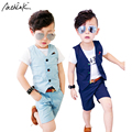ActhInK New 2017 Children Hemp Vest Suits for Boys Brand England Style Kids Summer Weddings Waistcoat Suits Boys Linen Suit,C056