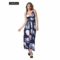 Summer Women Vestidos Sexy Maxi Dress 2017 Patchwork Flowers Printed V Neck Split Backless Party